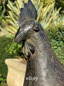 Art Africain Sculpture Coq en Bronze / Nigeria/
