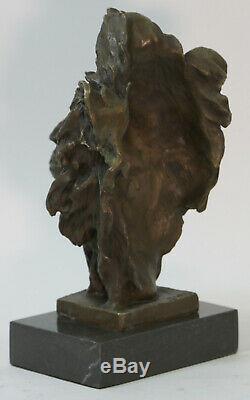 Art Déco Africain Lion Buste Faune Bronze Sculpture Statue Domestique Décoration