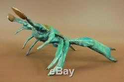 Art Déco Bleu Patine Crabe Homard 100% Bronze Massif Sculpture Figurine
