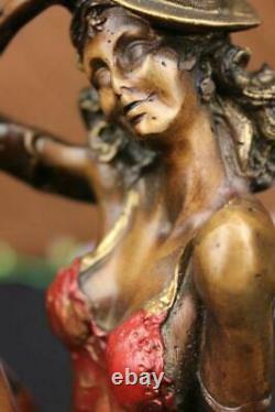 Art Déco Bronze Statue Vintage Actrice Danseuse Jazz Club Sculpture Design Décor