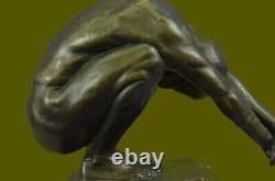 Art Déco Chair Mâle Plongeur Bronze Sculpture Marbre Base Figurine Décor Maison