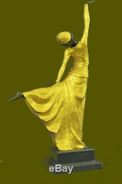 Art Déco Chaud Fonte Bronze Gracieux Ballerine Statue Sculpture Chiparus Gif