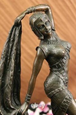 Art Déco Chiparus Érotique Danseuse Bronze Sculpture Statue Fonte Marbre Figure
