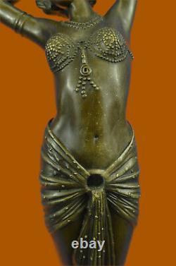 Art Déco Érotique Sexy Danseuse Par Leonard Bronze Sculpture Marbre Base Large