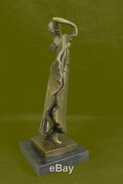 Art Déco Flair Danseuse Bronze Sculpture par Chiparus Statue Marbre Figurine