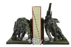 Art Déco Fonte Original Milo Deux Éléphant Faune Bronze Sculpture Serre-Livres