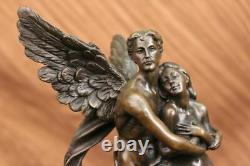 Art Déco Marbre Bronze Sculpture Ange Psyché Et Eros Statue Cupidon Artwork
