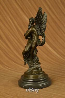 Art Déco Marbre Bronze Sculpture Ange Psyché Et Eros Statue Figurine Cupidon