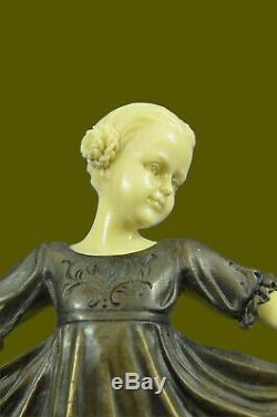 Art Déco OS Bronze Dancing Girl Signé Preiss Sculpture Statue Figurine Décor