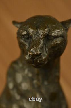 Art Déco Puma Jaguar Wildlife Guépard Bronze Sculpture Statue Figurine Hot Fonte