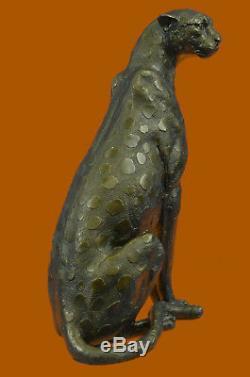 Art Déco Puma Jaguar Wildlife Guépard Bronze Sculpture Statue Figurine Lost Cire