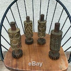 Art Design Sculpture Industriel 4 Moules de confiserie en bronze Vintage 1950