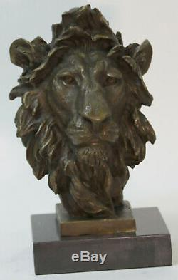 Art Sculpture Pure Bronze Cuivre Marbre Abstrait Fu Foo Chien Lion Statue Cire