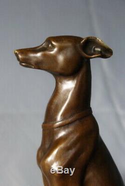 Art animalier Sculpture Beau lévrier signé Barye envoi gratuit