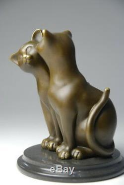 Art animalier, sympathique couple de chatons, bronze signé Milo