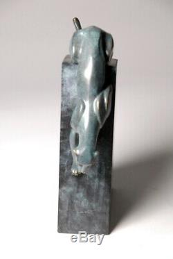 Art contemporain Guépard Superbe sculpture signée Milo Bronze envoi gratuit
