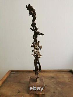 Art contemporain Sculpture abstraite bronze patine brune abstract DLG giacometti