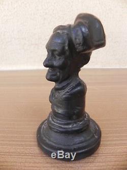 Art populaire ancien buste sculpture en bronze, sceau personnage bonnet