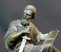 B 19ème rare statuette sculpture Saint Paul glaive 1.5kg20cm art sacré Dieu