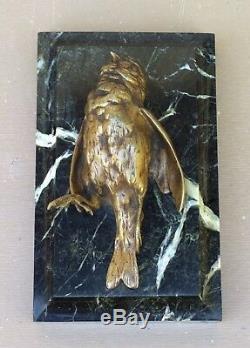 BRONZE animalier OISEAU signé COMOLERA SUSSES FRÈRES sur marbre ART DÉCO 19ème