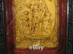 Bas Relief Descente De Croix En Bronze / Art Sacré/ Sculpture Descente De Croix