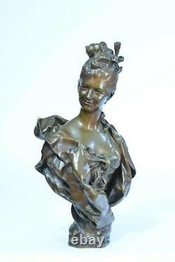 Beau Bronze Ancien portrait de Jeune femme Parisienne Barbedienne art nouveau