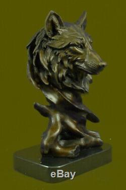 Bronze Animal Violent Loup Tête Art Sculpture Statue Marbre Figurine Art