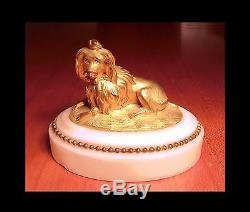 Bronze Animalier Art Deco Bichon Au Ruban Sculpture A Patine Doree