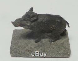 Bronze Art Déco Sculpture Sanglier Cochon Marbre Base Statue Figurine