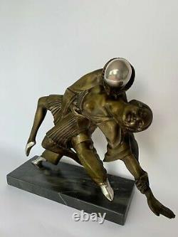 Bronze Art Deco Thomas Francois Cartier Danseur Cubiste Pierrot Colombine M334