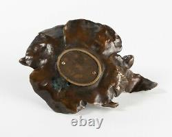 Bronze Art Nouveau Vide Poche Et Bougeoir Au Nu. Signé et marque d'éditeur