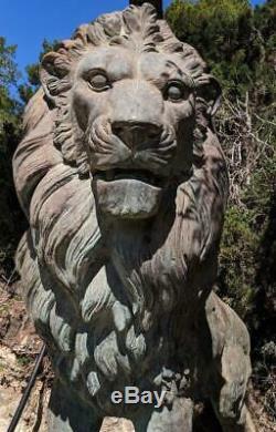 Bronze Lion Énorme Grande Figurine Sculpture Fontaine Statue de Art Antique
