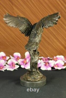 Bronze Marbre Base Chouette Oiseau Sculpture Statue Figurine Art Décor En Cire