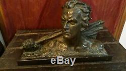 Bronze OULINE buste de Jean Mermoz, signé, époque Arts Déco années 30/40
