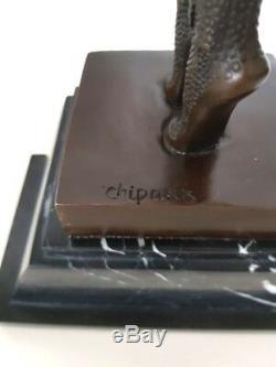 Bronze Sculpture Chiparus Danseuse Sur Socle Marbre Avec Signature Art Déco
