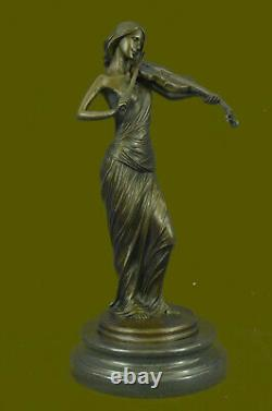 Bronze Sculpture Femelle Classique Violon Lecteur Musicien Musique Lost Cire Art