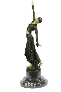 Bronze Sculpture, Main Fabriqué Statue Signé Art Déco Chiparus Ventre Danseuse