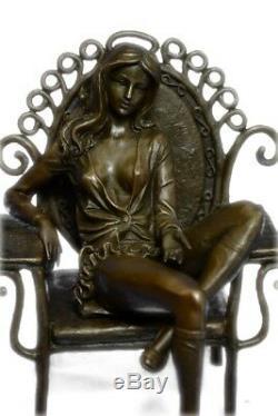 Bronze Sculpture Original Cesaro Chair Nue Érotique Femme Art Statue Figurine
