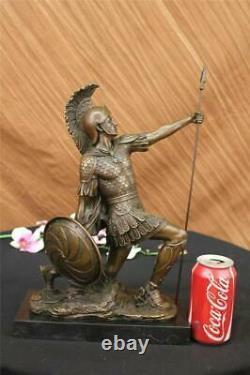 Bronze Sculpture Romain Dieu Guerrier Statue Signé Drouot Figurine Art Déco