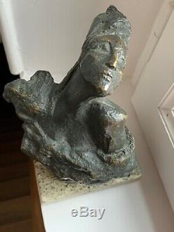 Bronze Sculpture sur Marbre de Femme art contemporain MODERN ART