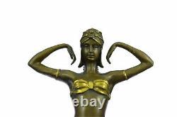 Bronze Statue Affaire Signé Demetre Chiparus Élégant Debout Danse Sculpture Art