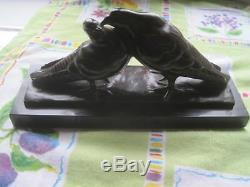 Bronze art déco, deux tourterelles, signé LEMO