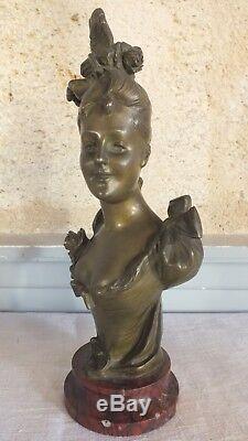 Bronze de Bruyneel femme fleur élégante sculpture art nouveau