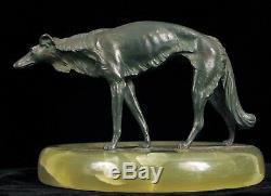 Bruno Zach Barzoï Bronze Sculpture Art Déco Cendrier Autriche Russe Wolfhound