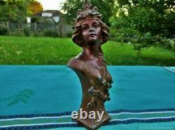 Buste sculpture ancien sur socle Art Nouveau Old sculpture bust on Art Nouveau
