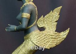 C N1 Art ASIE statuette statue bronze danseuse indonésie costume doré 3.3kg48cm