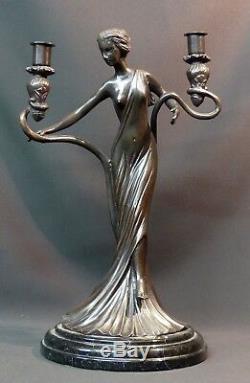 C superbe statue sculpture Bronze art nouveau bougeoir 5.5kg40cm très déco
