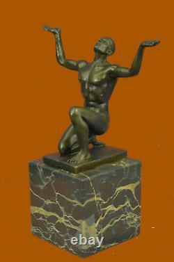 Chair Nue Chauve Homme Artisanal Art Bronze Sculpture Statue Figurine Décor Art