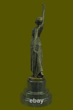 Chiparus Élégant Debout Danse Signé Demetre Bronze Sculpture Statue Art Décor