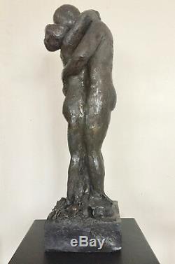 Couple Statue Sculpture terre cuite Art du Nu Design couleur bronze 52/15/15cm